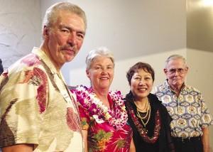 (L–R) Carlos Brandenburg, regional volunteer director, AARP; Barbara Service, nominee, AARP Hawaii Andrus Award for Community Service; Barbara Kim Stanton, state director, AARP Hawaii; Gerry Silva, state president, AARP Hawaii. Photo courtesy of AARP Hawaii.