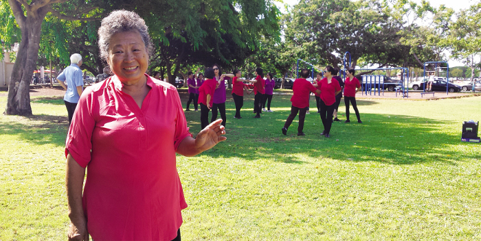 Judy Wu coordinates and teaches a healthy, happy dance class that meets every week at the Hawaii Chinese Culture & Education Center. When the center is closed, they dance in the park.