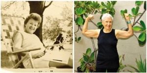 (left) Joan Packer at 49 yrs. and (right) at 94 yrs.