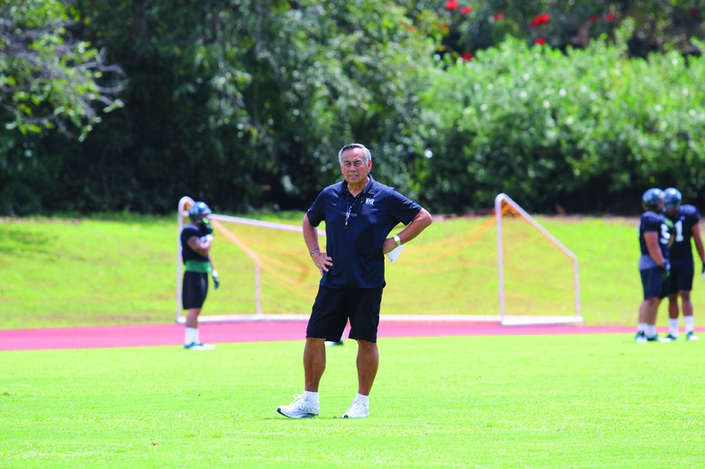 Norm Chow coaching football - Generations Magazine - June - July 2013