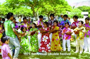 Roy and Kathy's first annual 'ukulele festival opened in Kapiolani Park in 1971. Since then, the 'ukulele has been brought back into the mainstream of entertainment and the festival has reached popularity worldwide.