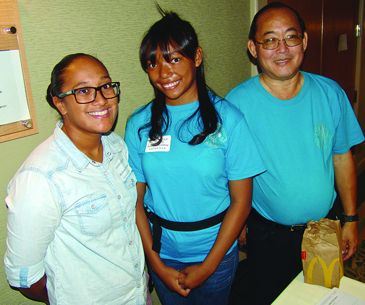 The Aging in Place Workshop relied on volunteers of all ages, like Leo Club members (L–R) Mackenzie Hoover, Jasmine Spaulding and Steven Yoshimura.