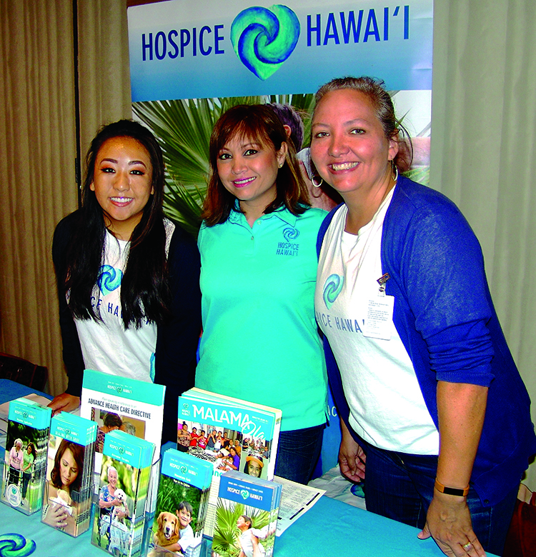 (L–R) Cassandra Matsushige, Jean Miura and Jenny Wilkinson spread awareness about Hospice Hawai'i, a nonprofit group that assists with end-of-life care.