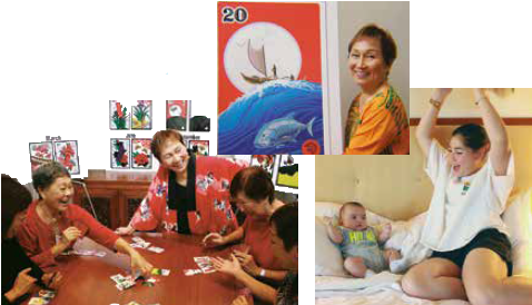 Helen Nakano, at top, enjoys a game with the ladies and cherishes her grandchildren, Arielle, 15, and Matthew, 10 months.