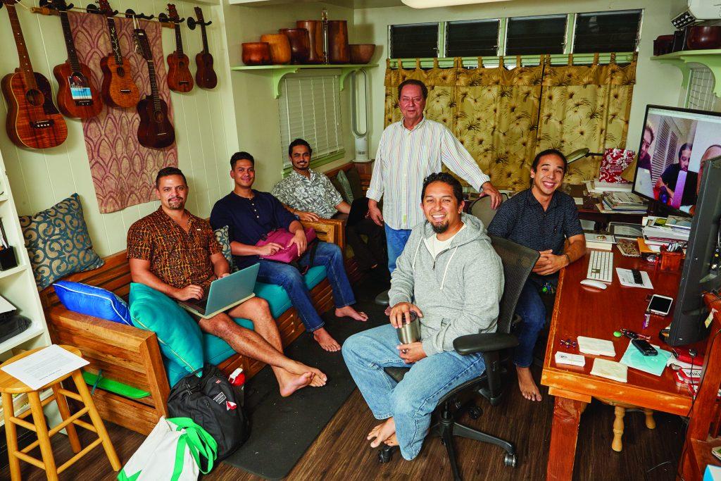 Dr. Nogelmeier's Awaiaulu translation project uses Skype to connect O'ahu, Moloka'i, Maui, Hawai'i, and Aotearoa/New Zealand. L–R: Ha'alilio Solomon, Keawe Goodhue, Ka'iuokalani Damas, Puakea Nogelmeier (standing), Kamuela Yim, Kalikoaloha Martin.
