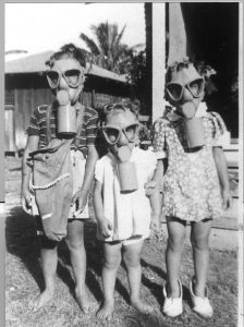 Children in gas masks. Photo courtesy of the Japanese Cultural Center of Hawai'i