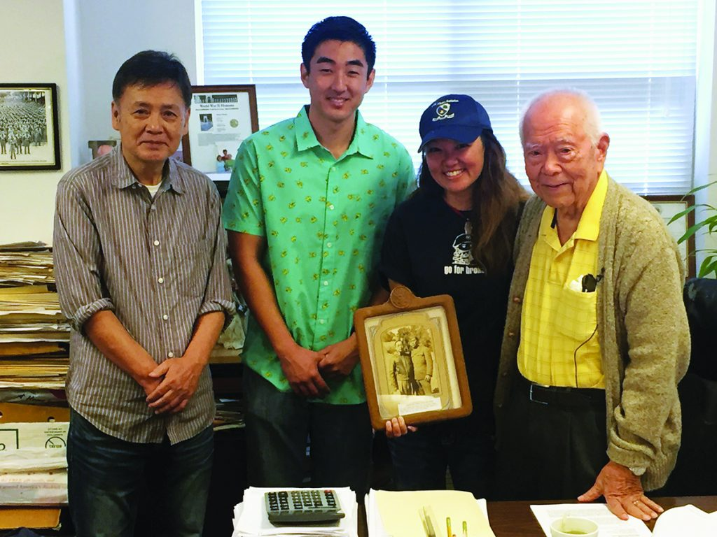Akira Otani, real-life 442 veteran (right) met Chad Yazawa, the actor who portrayed him (green shirt) and Ban Daisuke, who portrayed his father (left).