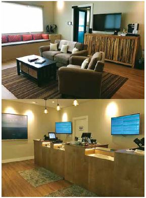 Top: A dispensary waiting room. Above: A dispensary showroom. Styling is unique to each dispensary, and very welcoming. But entry to areas where products are displayed is restricted to patients with Hawaii 329 cards.