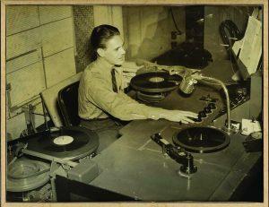 Disc jockey Harry B. Soria Sr. spinned 78s on KGU Radio in the old Honolulu Advertiser building.