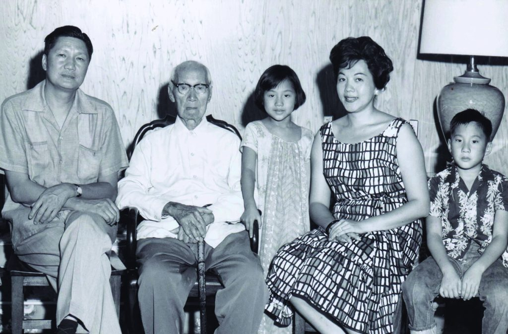 Three generations of City Mill Ltd.: When Steven and Carol were children, their grandfather, C.K. Ai, lived in their home. Following the wisdom of elders, helping the community and respecting others became a family and business culture to be celebrated. (L–R) David Ai, C.K Ai, Carol Ai, Lani Ai and Steven Ai.