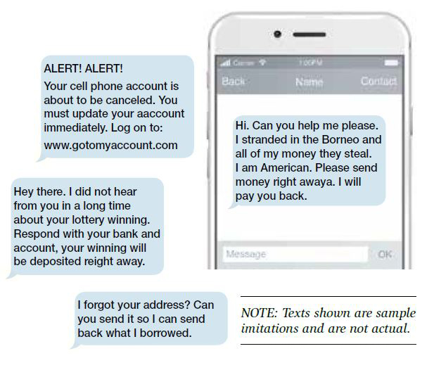 Graphic showing examples of spoofed text messages