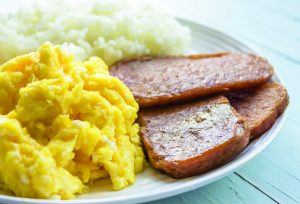 Photo of eggs, spam and rice