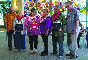 (L–R) Rep. Gregg Takayama; Maui County awardees Dorothy Tolliver; Juliana Patao and Christina Eckhart, the daughters of Mrs. Louise Corpuz (deceased); and Kimokeo Kapahulehua.
