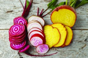 Photo of three varieties of beets