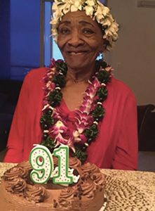 Rosa Elliot celebrating her 91st birthday