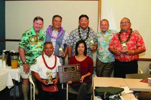(L–R, standing) Stan Michaels, Chris Pa, Percy Ihara, Michael Dowell, Peter Reyes, (seated) Tito Villanueva and Phoebe Hwang (DrPH, owner-operator, Omniworks).