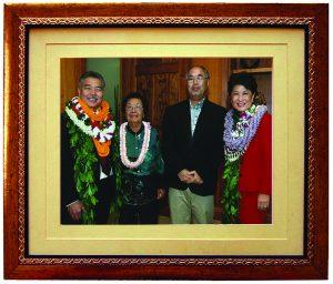A family portrait: (L–R) Gov. David Y. Ige, Mitsue Amano, Byron Amano, First Lady Dawn Amano-Ige.