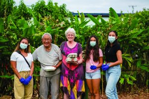 Kahuku High School students deliver meals to kūpuna during the COVID-19 pandemic.