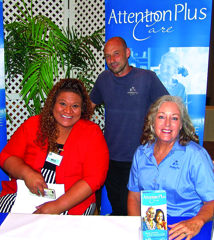 Attention Plus Care employees provided information about home healthcare options: (L–R) Mele Toumona, Adam Funari and Eileen Phillips.
