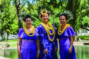 The 2017 Lei Queen and Court (from left):First Princess Pauline Leinā'ala Robello, Queen Perle Puamōhala Kaholokula and Princess Ada Kalikokalehua Cooke. Photo by Dave Miyamoto