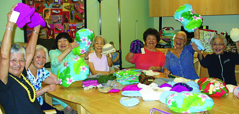 From left: 15 Craigside craft group members Violet Irinaka, Mabel Sekiya, Florence Nakamura, Hisako Toyooka, Violet Chang, Willie Faria and Katherine Sia.