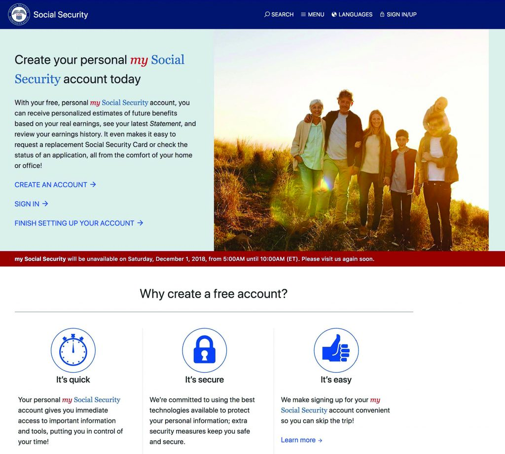 Graphic showing an add for signing up for your social security online account