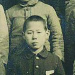 Lawrence Fumio Miwa at age 12 in 1943, when he was a sixth grader at Misasa Elementary School. Below, at age 88, visiting Punahou Japanese classes in 2019.