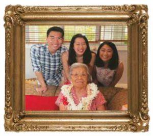 Mitsue's grandchildren, (L–R) Matthew, Amy and Lauren, helped care for her.