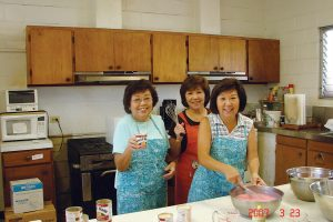 Gladys and her sisters, Bea Iwata and Betsy Uyematsu, in their home kitchen in 2007.