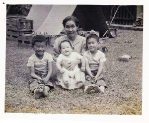 ustin's great-grandmother, Kuma Hirako, with (L–R) Roger, Norman and Jeffrey