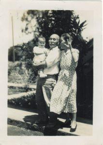 Justin's great-grandfather, Seijiro, and wife Kuma. Seijiro is holding Justin's Aunty Sharon.