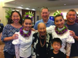 Carolee Nishi (center) with daughter Robyn Kuraoka, granddaughter Kaila Nishi (18), husband Ronald Nishi, granddaughter Kiralee Kuraoka (18), son-in-law Lance Kuraoka and grandson Kona Nishi (9).